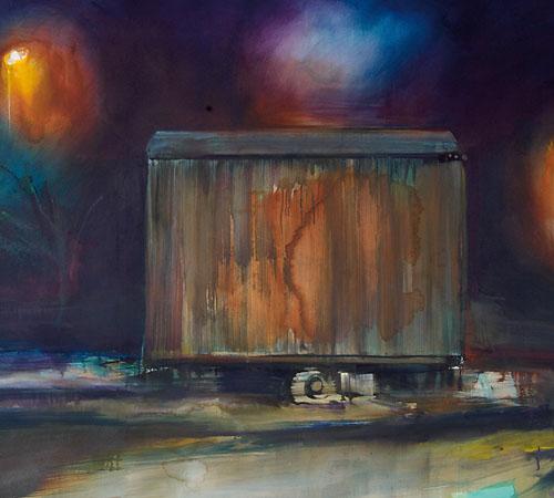 die Hirten | Acryl, Tusche auf Nessel | 220 x 300 cm | 2009