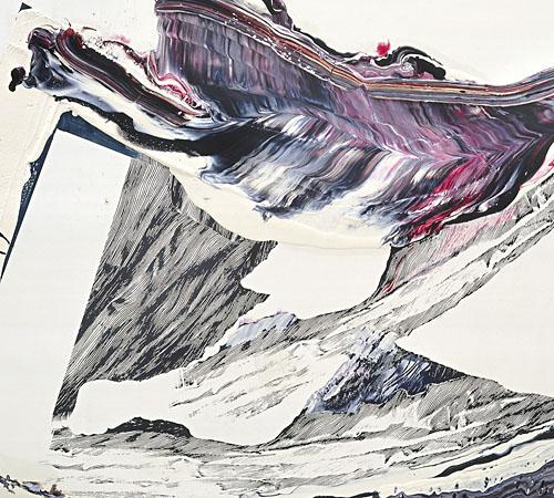Fahnenbild 7 | Öl und Siebdruck auf Holz | 100x 145 cm | 2010 | Foto: Hans Brändli